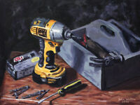 Original Still Life Painting of Drill and Toolbox -(12 x 16 inch) by John Wallie