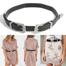 Women Lady Vintage Metal Boho Stylish Leather Double Buckle Waist Belt Waistband