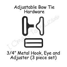 """25 Sets Bow Tie Hardware Fastener Clips - 3/4"""" Black Slide Adjuster, Hook & Eye"""
