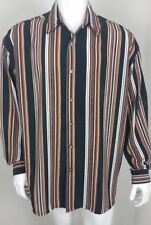 Monzini Collection Mens Shirt Size XL Button Front Long Sleeve Vertical Stripes