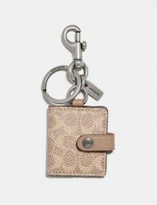 NWT COACH Picture Frame Bag Charm Key Chain Ring Signature Canvas & Leather Sand