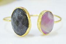 Ottoman Gems semi precious stone gold bracelet cuff bangle Labradorite Agate