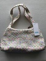 The Sak Woven Handbag Purse Basket Weave White Flowers Floral Woven