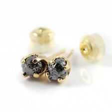5mm Post Earrings SOLID 14K Yellow Gold Ear Studs Black Rough Diamonds Natural