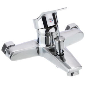 Chrome Zinc Alloy Bathroom Basin Mixer Faucet Sink Wall Mounted Hot & Cold Water