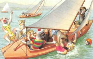 Alfred Mainzer  DRESSED CATS #4994  Sailboat Chaos~Falling Overboard   Postcard