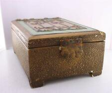 Antique Arts & Crafts Wooden Painted Gesso Floral Trinket Box Floral Gilt
