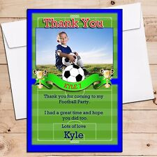 10 Personalised Football Birthday Party Thank you Thankyou PHOTO Cards N204