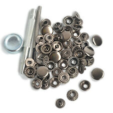 Punch Tool Set w/15 Sets 15mm Gunmetal Black Poppers Snap Fasteners Button Studs
