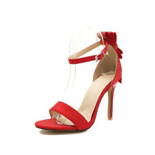 Women Open Toe High Heels Ankle Strap Stiletto Satin Sandals Wedding Party Shoes