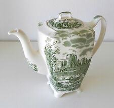 Vintage English Green & White Transferware Teapot ~ Rare With A Unique Shape