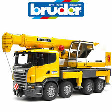 BRUDER LARGE 1:16 SCANIA LIEBHERR CRANE TRUCK LIGHT & SOUND 3570 MADE IN GERMANY
