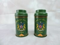 Jacksons Of Piccadilly Tea Container Set 2 Vintage Green Metal Tin Utile Dulci