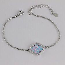 Womens 925 Sterling Silver CZ Hamsa Light Blue Opal 7inch Chain Bracelet