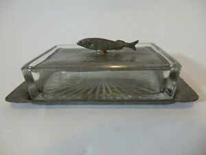 Unity Pewter Vintage Art Deco Glass Caviar Dish, With Pewter Tray / Lid #IM262