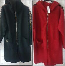 Womens Italian Texture Knit Wool Zip Ladies Hooded Coat  Jacket New teddy Jacket