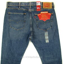 Levis 501 CT Jeans Mens Button Fly Size 38 x 32 BLUE FADE DISTRESSED Tapered Leg