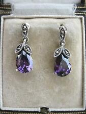 Chunky Deco Inspired Amethyst CZ, Marcasite & Silver Drop Earrings