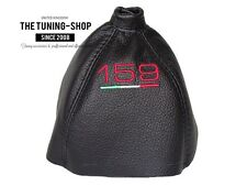 """For Alfa Romeo 159 05-11 Gear Gaiter Black Leather """"159 ITALY"""" Red Embroidery"""