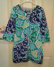 Robert Graham Blue Green Geometric Floral Pullover Tunic Top Boho Woman's Medium