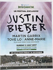 JUSTIN BIEBER  HYDE PARK JULY 2nd 2017  CONCERT FULL PAGE ADVERT - BST