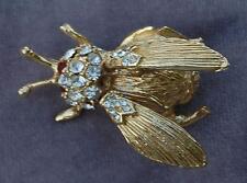 Vintage Hattie Carnegie Trembler Fly Bee Rhinestone Brooch Pin