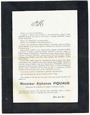 Avis de Décès Alphonse Piquiaud - Directeur Crédit Lyonnais - Dijon 1907