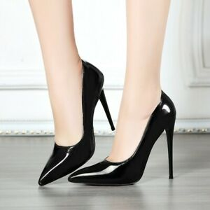 Ladies Patent Leather Pointed Toe Stiletto Formal Pumps High Heels Dress Shoes