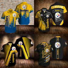 Pittsburgh Steelers Summer Football Shirts Casual Short Sleeve Button Up T Shirt