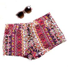 """Forever 21 Shorts Womens Size 31""""  Linen Cotton Blend Tribal Pattern Red Summer"""