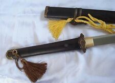 Tang Jian War sword/Full Tang/Damascus steel blade/Ebony scabbard/Brass fittings
