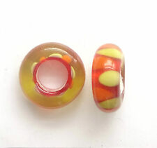 10 Red Lampwork Glass Beads 14x6mm Hole 5mm For European Charm Bracelet