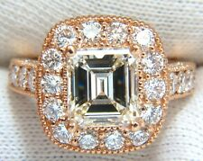 GIA 5.37CT EMERALD CUT DIAMOND RING 18KT BRIDAL ANNIVERSARY HALO CLUSTER █ █