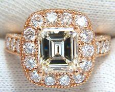 GIA 5.37CT EMERALD CUT DIAMOND RING 18KT BRIDAL ANNIVERSARY HALO CLUSTER+