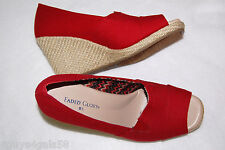 "WOMENS CANVAS PUMPS Red OPEN TOE 3"" Heel w/ Cording 8.5 ELASTIC BAND AT ARCH"