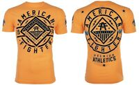AMERICAN FIGHTER Mens T-Shirt BIRCHWOOD Athletic NEON ORANGE Biker Gym $40