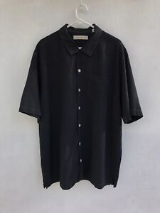 ⭐️ Mens Tommy Bahama 100% Silk Short Sleeve Casual Button Up Shirt Black Size XL