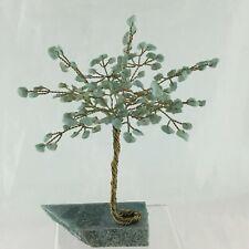 Healing Stone & Brass Tree Green Jade Jadeite Figurine On Rock