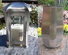 Grabset Edelstahl matt 2 tlg.,Grablaterne/ Grabvase/ Grablampe / Friedhof Vase