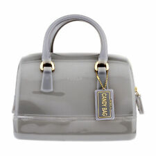 RARE NWT $248 AUTHENTIC FURLA CANDY SATCHEL JELLY BAG  Onice Gray 978653