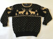 VTG Polo Ralph Lauren Wool Hand Knit Navy Reindeer Fair Isle Nordic Sweater  L