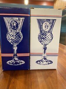 Pair Avon Fostoria Blue George and Martha Washington Goblet Set