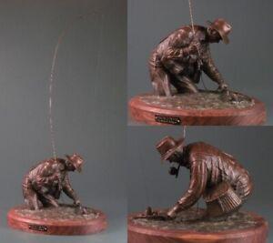 "Steve Lillegard A Good Day on the River Fishing 28"" Tall Bronze Sculpture"