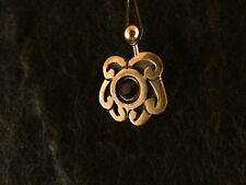 Piercing 24 Karat Gold Anhänger 925 Silber Blatt Bauchnabel Stein Dunkelrot