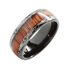 Tungsten Carbide Ring Koa Wood Inlay Dome Edge Comfort Fit Wedding New*