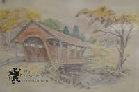 "Pencil Drawing Of Bridge Waterfall w/ Watercolor Signed Jay Killian 21"" x 17"""