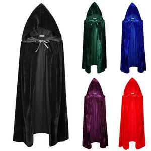 Adult/Kid Halloween Velvet Cloak Cape Hood Medieval Costume Witch Wicca Vampire