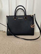 Michael Kors leather LG Satchel handbag color-way black/gold