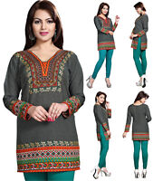 UK STOCK Grey Women Fashion Indian Short Kurti Tunic Kurta Top Shirt Dress 129D