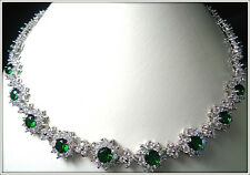 18K HIGH QUALITY LADY' NANO RUSSIAN EMERALD NECKLACE EARRING SET BRIDAL, COCKTAL